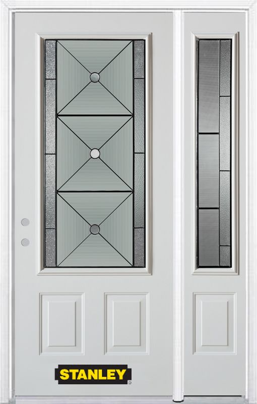 52-inch x 82-inch Bellochio 3/4-Lite 2-Panel White Steel Entry Door with Sidelite and Brickmould