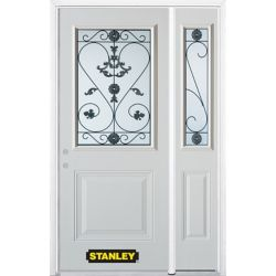 Stanley Doors 50.25 inch x 82.375 inch Blacksmith 1/2 Lite 1-Panel Prefinished White Right-Hand Inswing Steel Prehung Front Door with Sidelite and Brickmould - ENERGY STAR®