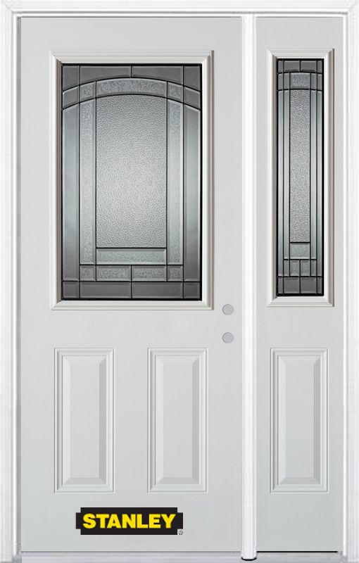 50-inch x 82-inch Chatham 1/2-Lite 2-Panel White Steel Entry Door with Sidelite and Brickmould