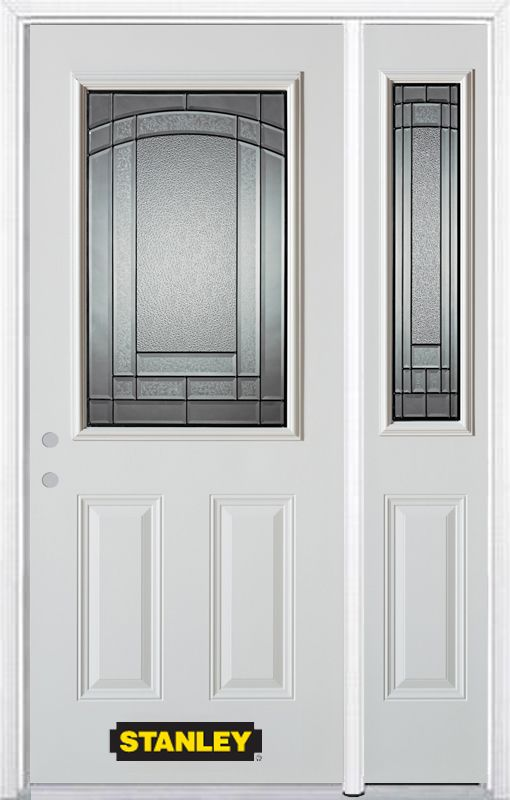 Stanley Doors 48.25 inch x 82.375 inch Chatham Patina 1/2 Lite 2-Panel Prefinished White Right-Hand Inswing Steel Prehung Front Door with Sidelite and Brickmould