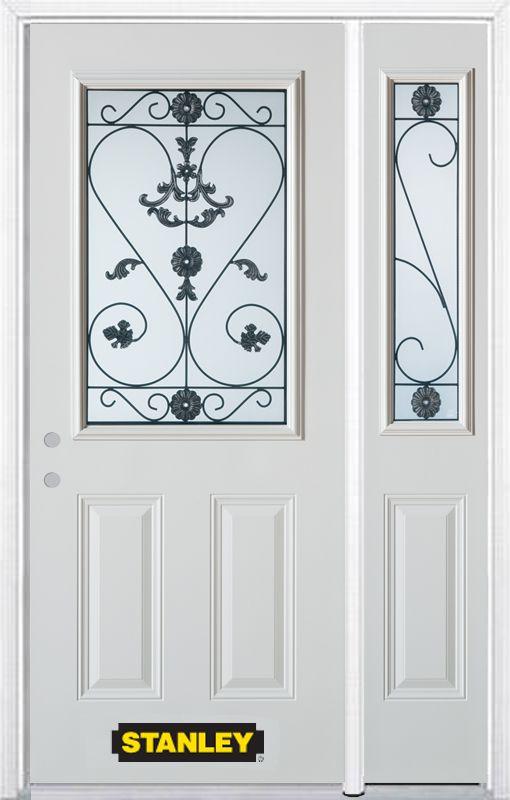 Stanley Doors 48 Inch X 82 Inch Blacksmith 1 2 Lite 2 Panel White Steel Entry Door With Sidelite