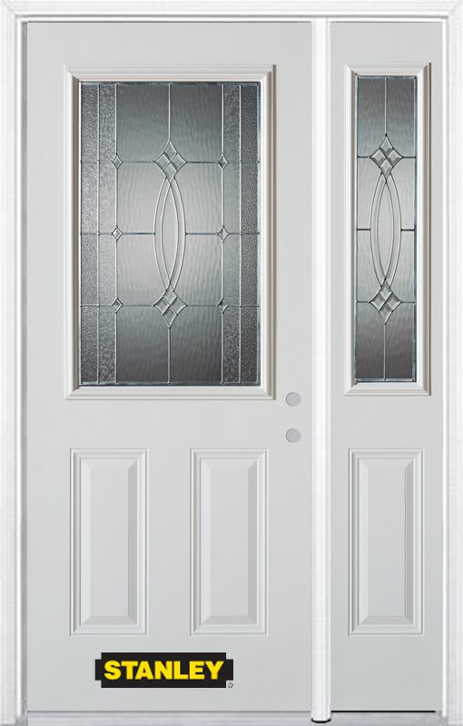 50-inch x 82-inch 1/2-Lite 2-Panel White Steel Entry Door with Sidelite and Brickmould