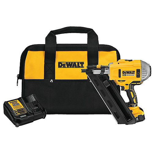 DEWALT 20V MAX XR Li-Ion Cordless Brushless 2-Speed 33-Degree Framing Nailer with Battery 4Ah and Charger