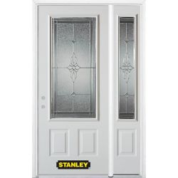 Stanley Doors 48.25 inch x 82.375 inch Victoria Brass 3/4 Lite 2-Panel Prefinished White Right-Hand Inswing Steel Prehung Front Door with Sidelite and Brickmould