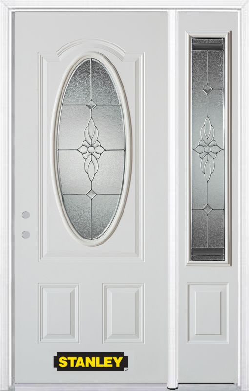 Stanley Doors 48.25 inch x 82.375 inch Victoria Brass 3/4 Oval Lite 2-Panel Prefinished White Right-Hand Inswing Steel Prehung Front Door with Sidelite and Brickmould