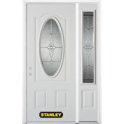 STANLEY Doors 50.25 inch x 82.375 inch Victoria Brass 3/4 Oval Lite 2-Panel Prefinished White Right-Hand Inswing Steel Prehung Front Door with Sidelite and Brickmould