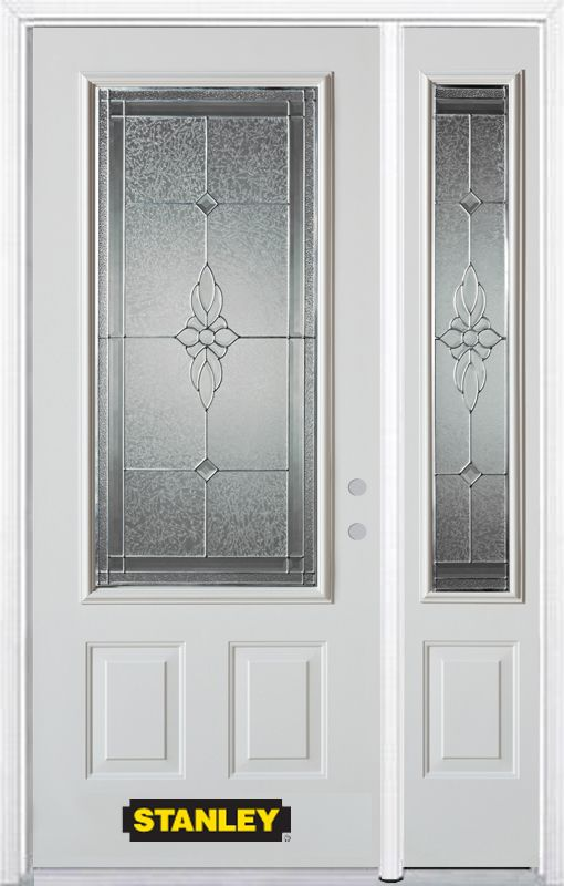 Stanley Doors 48.25 inch x 82.375 inch Victoria Brass 3/4 Lite 2-Panel Prefinished White Left-Hand Inswing Steel Prehung Front Door with Sidelite and Brickmould