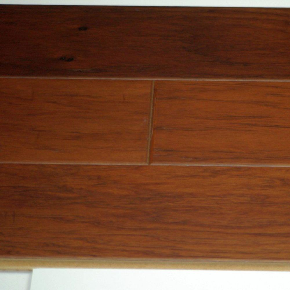 Hardwood Flooring Hickory 3/8 x 5 Handscraped Thermo Treated - Leather Colour (25.6  Sq.Ft./Case)