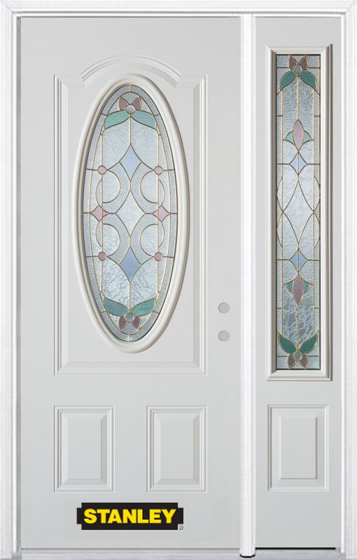 50-inch x 82-inch Aristocrat Oval 3/4-Lite White Steel Entry Door with Sidelite and Brickmould