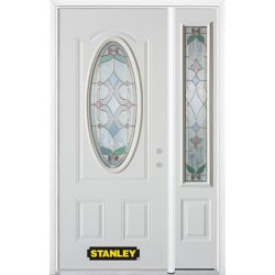 STANLEY Doors 50.25 inch x 82.375 inch Aristocrat Brass 3/4 Oval Lite 2-Panel Prefinished White Left-Hand Inswing Steel Prehung Front Door with Sidelite and Brickmould