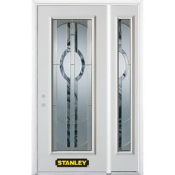 Stanley Doors 48.25 inch x 82.375 inch Stephany Brass Full Lite Prefinished White Right-Hand Inswing Steel Prehung Front Door with Sidelite and Brickmould