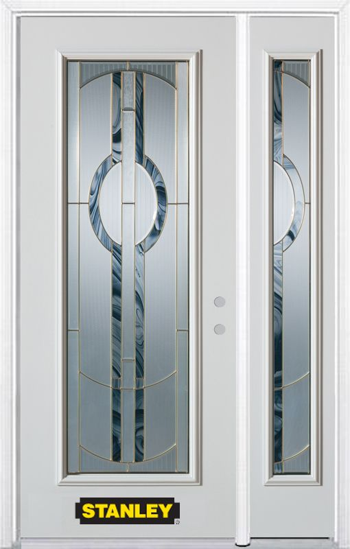 Stanley Doors 48.25 inch x 82.375 inch Stephany Brass Full Lite Prefinished White Left-Hand Inswing Steel Prehung Front Door with Sidelite and Brickmould