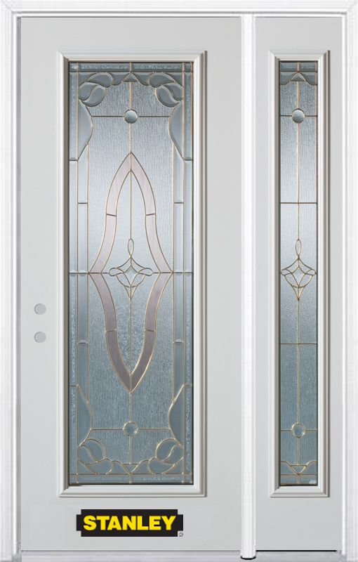 Stanley Doors 50.25 inch x 82.375 inch Florence Brass Full Lite Prefinished White Right-Hand Inswing Steel Prehung Front Door with Sidelite and Brickmould - ENERGY STAR®