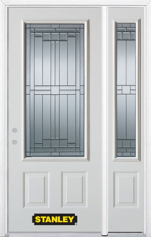 52-inch x 82-inch Seattle 3/4-Lite 2-Panel White Steel Entry Door with Sidelite and Brickmould