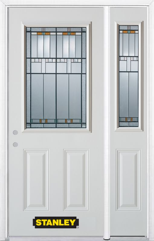 Stanley Doors 48.25 inch x 82.375 inch Chicago Patina 1/2 Lite 2-Panel Prefinished White Right-Hand Inswing Steel Prehung Front Door with Sidelite and Brickmould