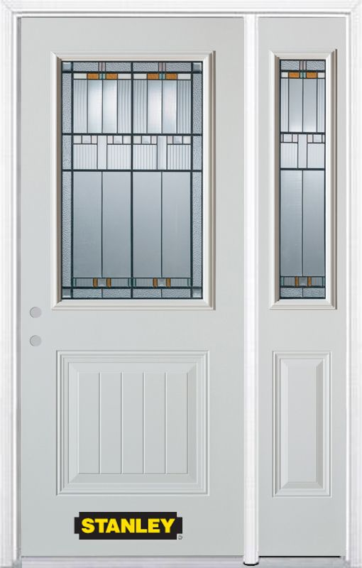 52-inch x 82-inch Chicago 1/2-Lite 1-Panel White Steel Entry Door with Sidelite and Brickmould