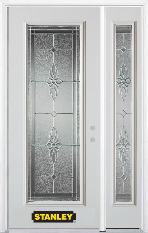 48-inch x 82-inch Victoria Full Lite White Steel Entry Door with Sidelite and Brickmould