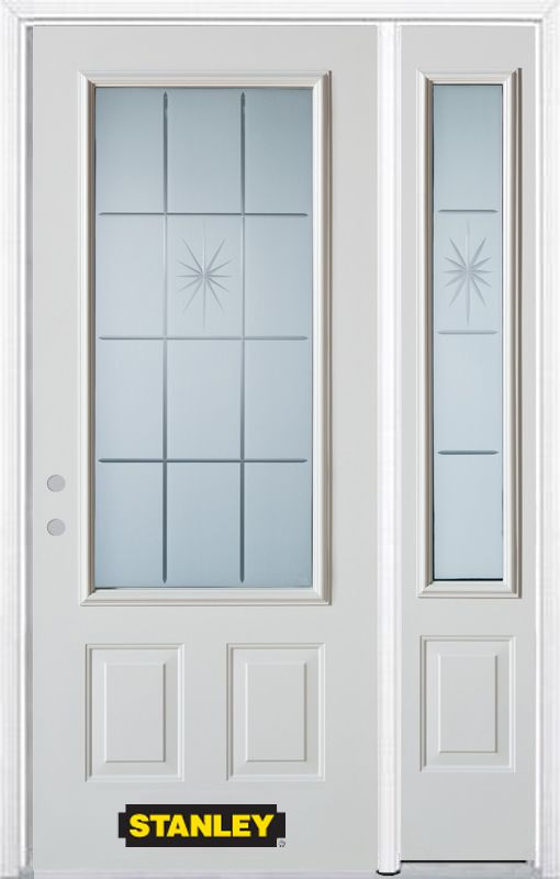 Stanley Doors 52.75 inch x 82.375 inch Beaujolais 3/4 Lite 2-Panel Prefinished White Right-Hand Inswing Steel Prehung Front Door with Sidelite and Brickmould