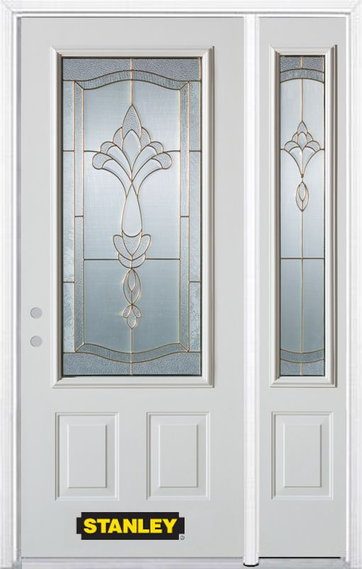 Stanley Doors 48.25 inch x 82.375 inch Karina Brass 3/4 Lite 2-Panel Prefinished White Right-Hand Inswing Steel Prehung Front Door with Sidelite and Brickmould