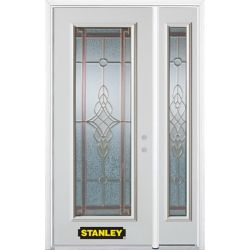 Stanley Doors 48.25 inch x 82.375 inch Milano Brass Full Lite Prefinished White Left-Hand Inswing Steel Prehung Front Door with Sidelite and Brickmould