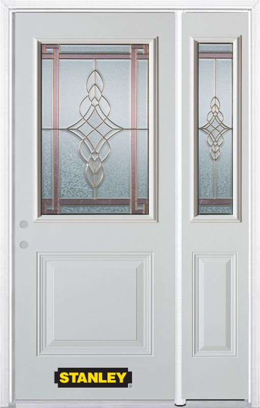 Stanley Doors 48 Inch X 82 Inch Milano 1 2 Lite 1 Panel White Steel Entry Door With Sidelite And