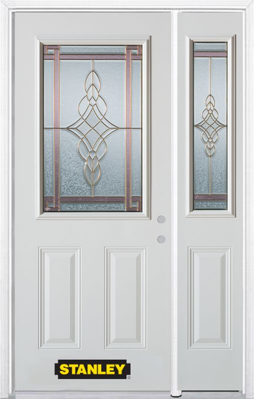 Stanley Doors 52.75 inch x 82.375 inch Milano Brass 1/2 Lite 2-Panel Prefinished White Left-Hand Inswing Steel Prehung Front Door with Sidelite and Brickmould
