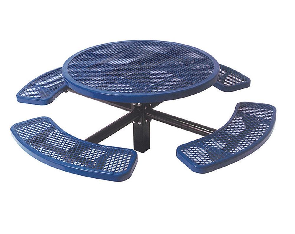 Table ronde de 46po, pouvant être ancré dans le sol- Bleu