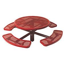Table ronde de 46po, pouvant être ancré dans le sol- Rouge