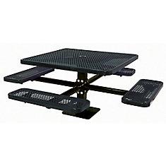 Table carré de 46po, pouvant être installé sur une surface- Noir