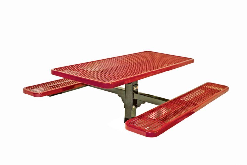 Table rectangulaire de 6pi, pouvant être ancré dans le sol- Rouge