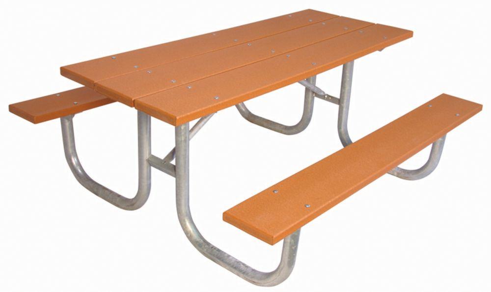 Table rectangulaire de 6pi fait de plastique recyclé- Cedar