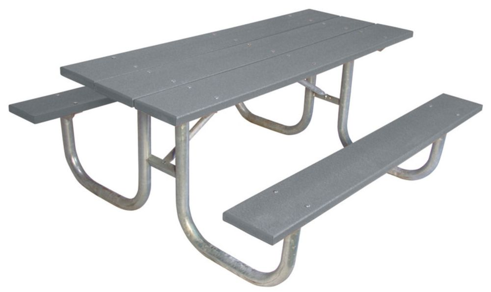 6 ft Commercial Recycled Plastic Table- Gray