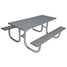 Table rectangulaire de 6pi fait de plastique recyclé- Gray