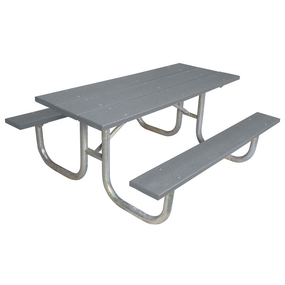 UltraSite 6 ft. Commercial Recycled Plastic Table in Gray