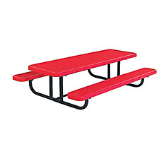 8 ft. Commercial Preschool Rectangular Portable Table in Red