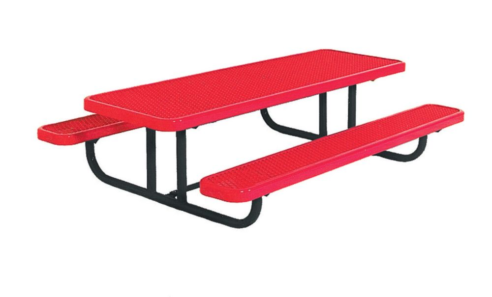8' Commercial Preschool Rectangular Table, Portable- Red