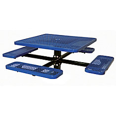 Table carré de 46po, pouvant être ancré dans le sol- Bleu