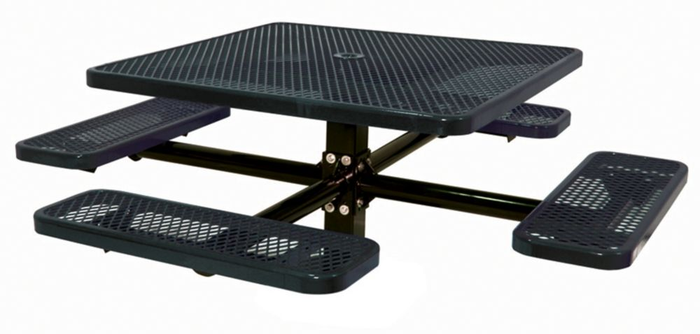 46 inch Commercial Square Table, In Ground- Black