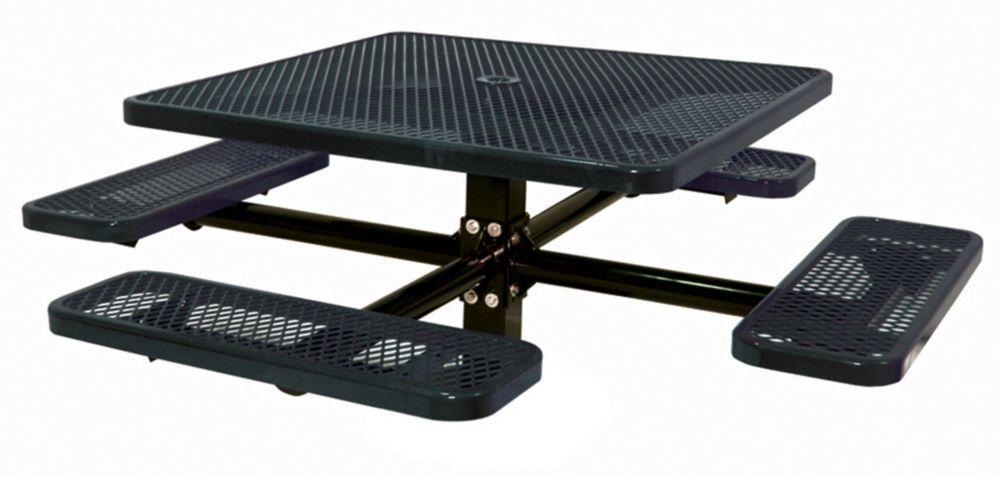 Table carré de 46po, pouvant être ancré dans le sol- Noir