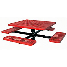 Table carré de 46po, pouvant être ancré dans le sol- Rouge