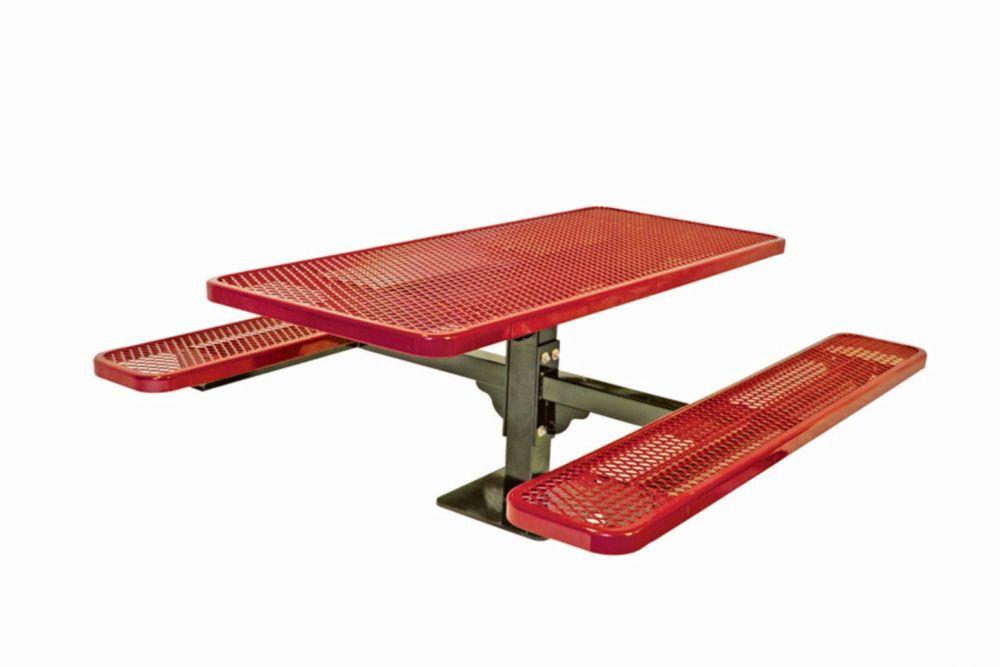 Table rectangulaire de 6pi, pouvant être installé sur une surface- Rouge