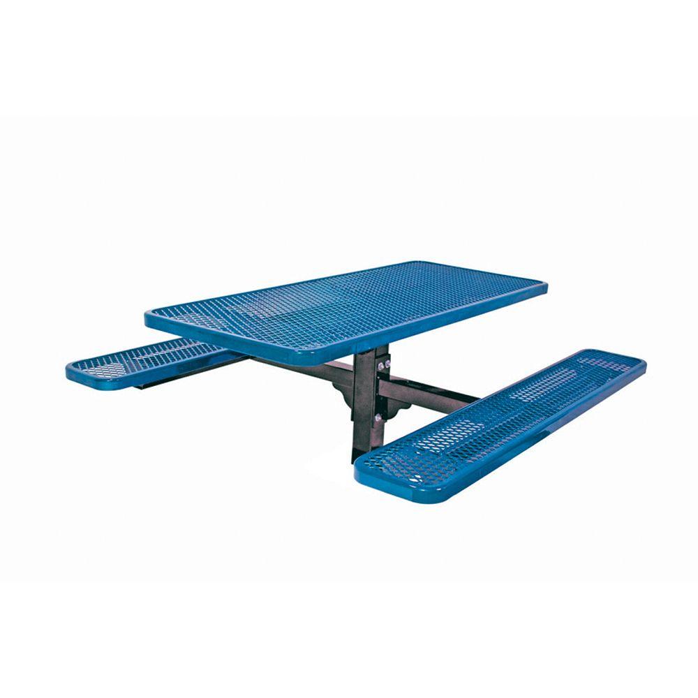 UltraSite Table rectangulaire de 6pi, pouvant être ancré dans le sol- Bleu