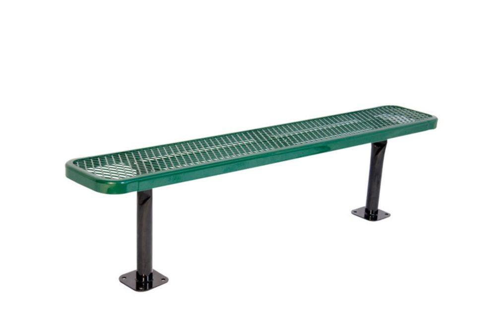 6 ft Commercial Bench, Surface Mount- Green