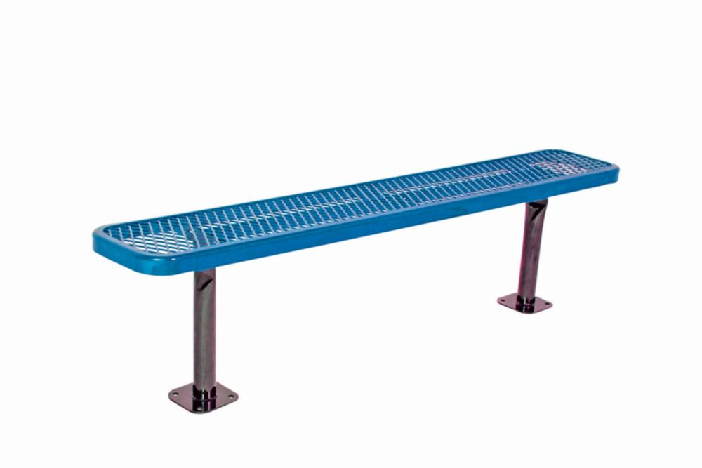 6 ft Commercial Bench, Surface Mount- Blue