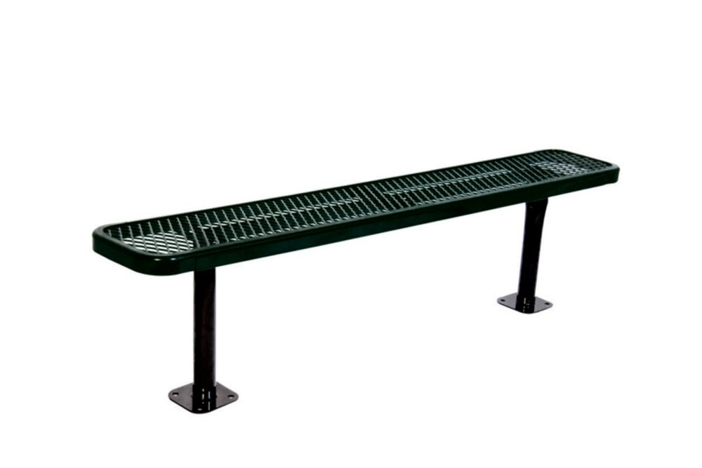 6 ft Commercial Bench, Surface Mount- Black