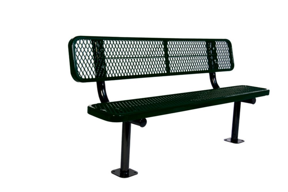 6 ft Commercial Bench w/ Back, Surface Mount- Black