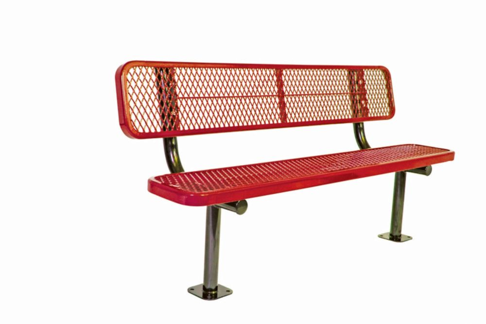 6 ft Commercial Bench w/ Back, Surface Mount- Red