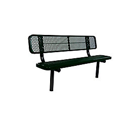 6 ft. Commercial In-Ground Bench with Back in Black