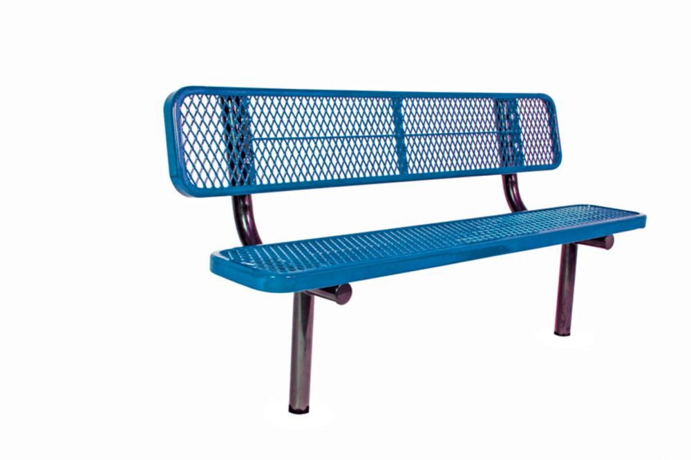 6 ft Commercial Bench w/ Back, In Ground- Blue