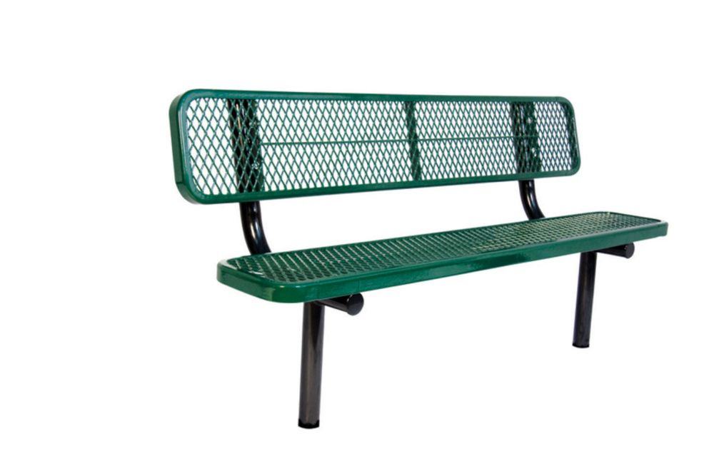 6 ft Commercial Bench w/ Back, In Ground- Green